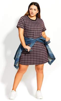 City Chic Tartan Love Dress - purple
