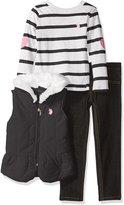 U.S. Polo Assn. Little Girls' Toddler Puffer Vest, Long Sleeve Striped Tee and Stretch Denim Jean