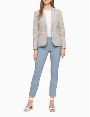 Calvin Klein Glen Plaid 1-Button Notch Lapel Blazer