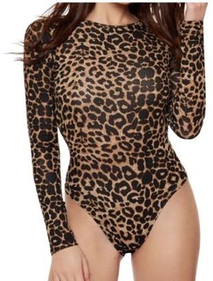 ZET Ladies Plus Size Animal Print Bodysuit Womens Leopard Leotard Sleeve Top Sizes 8-22