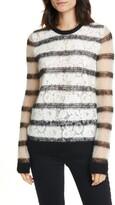 N°21 N?21 Lace Front Sheer Stripe Sweater