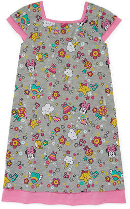 Disney Collection Girls Knit Nightshirt Minnie Mouse Short Sleeve Square Neck