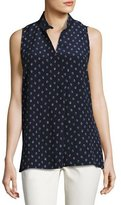 Lafayette 148 New York Eloise Sleeveless Dancing Dot Silk Blouse, Multi