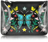 Mary Katrantzou Graphic Butterfly Black Nappa Leather Pouch