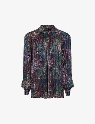 Reiss Darcey metallic high-neck crepe blouse