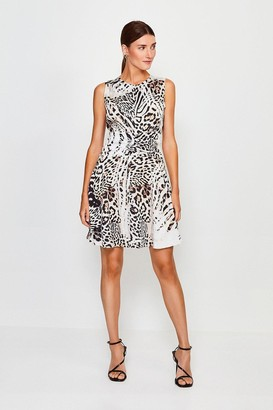 Karen Millen Animal Print Zip Front Short Dress