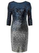 Dorothy Perkins Womens Teal Ombre Sequin Embellished Bodycon Dress
