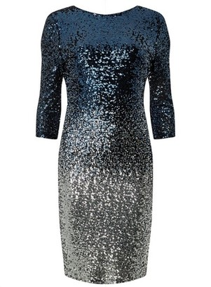 Dorothy Perkins Womens **Teal Ombre Sequin Embellished Bodycon Dress
