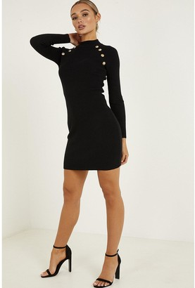 Quiz Knitted Long Sleeve Button Detail Mini Dress - Black