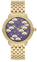 Michele Serein 16 Blue Fan Diamond & Goldtone Stainless Steel Bracelet Watch