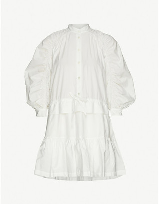 Frame Ruched cotton midi dress