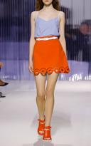 Carven Sanguine Red Eyelet Mini Skirt