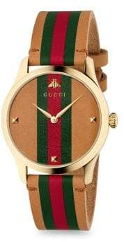 Gucci G-Timeless Stripe Leather Strap Watch