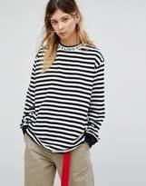 Stussy Oversized Long Sleeve T-Shirt With Collar Logo