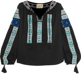 Sea Embroidered cotton-gauze blouse
