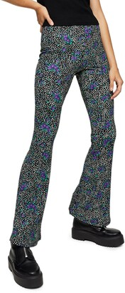 Topshop Color Pop Floral Flare Trousers