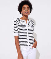 LOFT Striped Short Sleeve Signature Cardigan