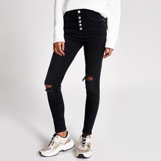 River Island Ri Beauty Womens Black ripped Hailey high rise skinny jeans