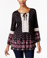 Style&Co. Style & Co Crochet-Trim Peplum Top, Only at Macy's