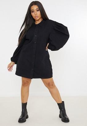Missguided Plus Size Black Denim Puff Sleeve Shirt Dress