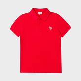 Paul Smith Boys' 7+ Years Red Cotton-Piqué Zebra-Logo Polo Shirt