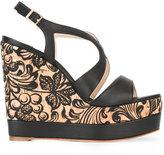 Paloma Barceló floral wedge sandals - women - Cork/Cotton/Leather - 37