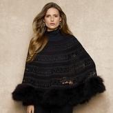 Ralph Lauren Blue Label Crocheted Feather-Trim Capelet