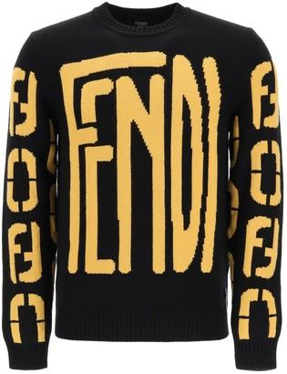Fendi Logo Intarsia Knit Jumper