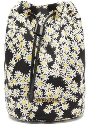 Miu Miu Daisy-print Drawstring Wash Bag - Black White