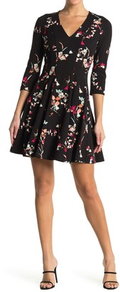 GUESS Floral Print 3/4 Sleeve Dress