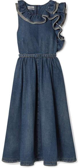 Co Belted Ruffled Denim Midi Dress - Blue