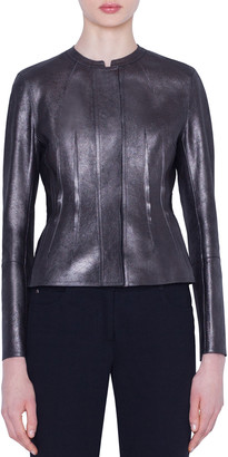 Akris Darling Metallic Napa Leather Jacket