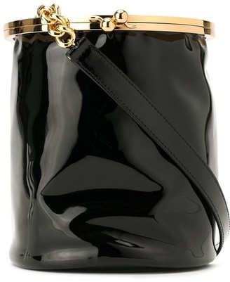 Emporio Armani faux patent leather bucket bag