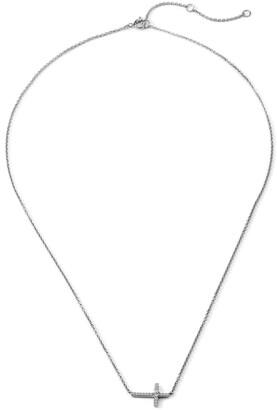 AJOA Pave Side Cross Pendant Necklace