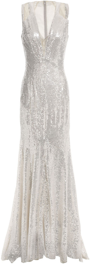 Jenny Packham Tulle-paneled Sequined Tulle Gown