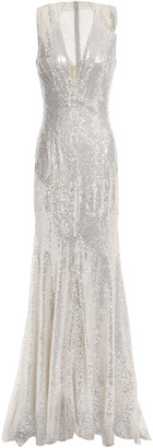 Jenny Packham Fluted Sequin-embellished Tulle Gown