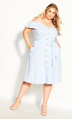 City Chic Stripe Affair Dress - chambray