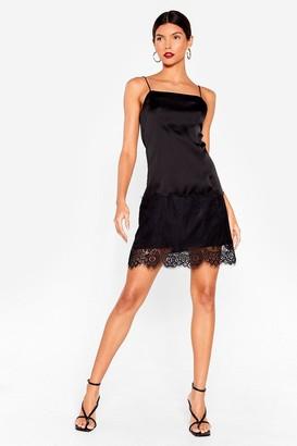 Nasty Gal Womens Slipping into a Satin Mini Dress - Black - 4, Black