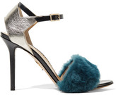 Charlotte Olympia Capella Shearling And Metallic Textured-leather Sandals - Petrol