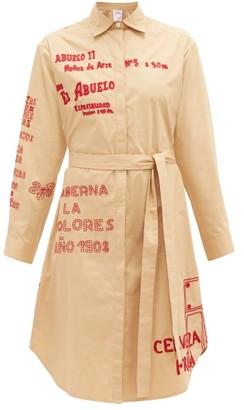 Kilometre Paris - Barrio De La Letras Cotton Shirt Dress - Beige Multi