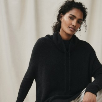 The White Company Cosy Oversized Funnel-Neck Sweater, Dark Charcoal Marl, Extra Small