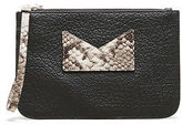 Kenneth Cole Leather And Snake-Embossed Wristlet