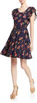 Jill Stuart Midnight Floral-Jacquard Flutter-Sleeve Cocktail Dress