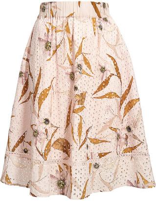 Ted Baker Cabana-print broderie anglaise cotton midi skirt