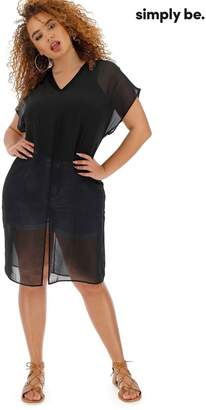 Womens Simply Be Longline Sheer Overlay Blouse - Black
