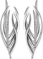 Shaun Leane White Feather silver and diamond earrings