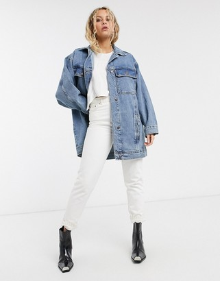 Topshop super oversized denim jacket in mid wash blue