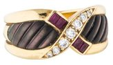 Mauboussin 18K Diamond, Ruby & Mother of Pearl Band