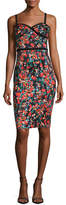 Black Halo Daria Floral-Print Sateen Sheath Dress, Masterpiece