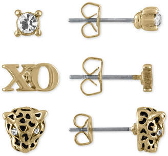 Rachel Roy Gold-Tone 3-Pc. Set Crystal, Xo and Leopard Stud Earrings